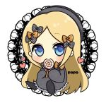 1girl abigail_williams_(fate/grand_order) artist_name bangs black_bow black_dress black_footwear black_headwear blonde_hair blue_eyes blush bow candy chibi commentary_request dress eating eyebrows_visible_through_hair fate/grand_order fate_(series) food full_body hair_bow hat heart holding holding_food holding_lollipop lollipop long_hair long_sleeves looking_at_viewer orange_bow parted_bangs polka_dot polka_dot_bow popo_(popopuri) shoe_soles shoes sitting sleeves_past_fingers sleeves_past_wrists solo swirl_lollipop very_long_hair white_background