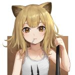 1girl animal animal_ears arknights baseball_bat blonde_hair candy collarbone commentary_request food hair_between_eyes lion_ears lion_girl lollipop looking_at_viewer medium_hair nhaliz orange_eyes siege_(arknights) simple_background solo white_tank_top younger