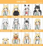 1girl animal_ears black_hair blonde_hair blue_eyes bow bowtie capoki cat_ears chibi collared_shirt dark_skin english_text eyebrows_visible_through_hair eyepatch girls_frontline green_eyes grey_hair idw_(girls_frontline) kemono_friends long_hair medium_hair mod3_(girls_frontline) necktie parody shirt suspenders twintails white_background white_shirt