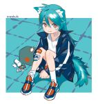 1girl :3 animal_ear_fluff animal_ears antenna_hair aqua_hair bandaid bandaid_on_knee bandaid_on_leg bangs blue_hair blue_jacket border cat_ears cat_girl cat_tail closed_mouth first_aid_kit floor from_side hair_between_eyes jacket knees_together_feet_apart knees_up limited_palette long_hair long_sleeves looking_at_viewer medicine niwabuki on_floor open_clothes open_jacket original outside_border own_hands_together popped_collar red_cross red_eyes ruka_(niwabuki) shirt shoes signature single_tear sitting smile sneakers socks solo tail tile_floor tiles white_border white_legwear white_shirt windowboxed