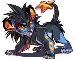 commentary creature english_commentary full_body gen_4_pokemon luxray no_humans pokemon pokemon_(creature) shadow simple_background smirk solo standing vani white_background yellow_eyes