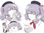 1girl bangs blue_eyes blue_headwear blush chibi closed_mouth cup drinking eyebrows_visible_through_hair gloves grey_gloves grey_hair holding holding_cup ht ishii_hisao kantai_collection kashima_(kantai_collection) multiple_views neckerchief pinky_out red_neckwear simple_background smile twintails white_background
