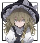 1girl bags_under_eyes blonde_hair border bow braid closed_mouth expressionless frilled_sleeves frills hair_between_eyes hair_bow hat hat_bow highres hisha_(kan_moko) kirisame_marisa long_hair looking_at_viewer outside_border puffy_sleeves simple_background solo touhou upper_body white_background white_border wizard_hat