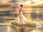 1girl bare_shoulders beach brown_hair clouds commentary crossed_arms dress foomidori full_body hair_ornament hands_on_own_chest highres long_hair looking_at_viewer ocean off_shoulder orange_dress original scenery sky solo standing sunset water