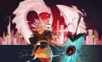 1girl absurdres cityscape closed_eyes commentary cyberpunk english_commentary feather_collar glowing glowing_sword glowing_weapon highres huge_weapon joy_lan lips lipstick makeup nose planted_sword planted_weapon red_(transistor) redhead short_hair sword the_transistor transistor_(game) weapon