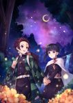 1boy 1girl :d black_hair black_hakama black_jacket black_skirt blurry_foreground brown_hair burn_mark butterfly_hair_ornament checkered_haori closed_mouth earrings eye_contact flower forest hair_ornament hakama highres holding_hands jacket japanese_clothes jewelry kamado_tanjirou kimetsu_no_yaiba long_sleeves looking_at_another medium_skirt military military_jacket military_uniform nature night night_sky open_mouth pleated_skirt plus1024 purple_sky red_eyes sheath sheathed shiny shiny_hair short_hair side_ponytail skirt sky smile sparkle star_(sky) starry_sky sword tsuyuri_kanao uniform violet_eyes water waterfall weapon yellow_flower