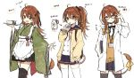 1girl alternate_costume alternate_hairstyle bespectacled black_legwear braid brown_eyes brown_hair commentary_request fang glasses hair_between_eyes hazakura_chikori japanese_clothes lion_tail looking_at_viewer open_mouth re:act ribbon school_uniform shishigami_leona side_braid simple_background solo tail thigh-highs tray virtual_youtuber white_background white_legwear