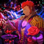 1boy absurdres alternate_costume beard blue_eyes brown_hair chest epaulettes facial_hair fate/grand_order fate_(series) flower gloves hat highres huge_filesize long_sleeves looking_at_viewer male_focus muscle napoleon_bonaparte_(fate/grand_order) pectorals petals red_flower red_rose rose simple_background smile solo stage_lights uniform user_tpue3428