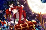 1girl absurdres antlers ass bangs bare_shoulders black_hair blue_eyes blush commentary fate/stay_night fate_(series) gift highres kotatsu_kaya long_hair moon navel no_shoes red_legwear red_skirt reindeer_antlers ribbon skirt smile solo thigh-highs toosaka_rin two_side_up