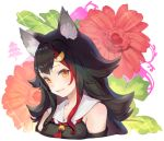 1girl animal_ear_fluff animal_ears bangs bare_shoulders bibimbub black_hair detached_sleeves floral_background grin highres hololive looking_at_viewer multicolored_hair ookami_mio portrait sailor_collar sidelocks smile solo streaked_hair teeth virtual_youtuber white_sailor_collar wolf_ears yellow_eyes