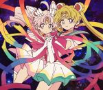 2girls bishoujo_senshi_sailor_moon blonde_hair boots bukiko crescent crescent_earrings earrings gloves highres holding_hands jewelry long_hair looking_at_viewer multiple_girls pink_footwear pink_hair sailor sailor_chibi_moon sailor_moon space super_sailor_chibi_moon super_sailor_moon twintails white_gloves