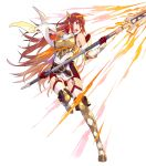 1girl armor bangs bare_shoulders belt boots breastplate cordelia_(fire_emblem) dress fire_emblem fire_emblem_awakening fire_emblem_heroes full_body garter_straps gloves highres katou_itsuwa official_art red_eyes redhead scarf shiny shiny_hair short_dress shoulder_armor solo thigh-highs thigh_boots transparent_background white_legwear white_scarf zettai_ryouiki
