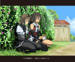 2girls absurdres bangs bodysuit brown_eyes brown_hair clouds day elbow_gloves fence food gloves hachimaki hair_flaps hair_ornament hairband hatsuzuki_(kantai_collection) headband hedge_(plant) highres kantai_collection multiple_girls neckerchief onigiri open_mouth outdoors pantyhose pleated_skirt remodel_(kantai_collection) scarf school_uniform sendai_(kantai_collection) serafuku short_hair skirt squatting t.k.o two_side_up yellow_eyes