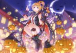 1girl ayase_eli bangs black_shirt black_skirt blonde_hair blue_eyes blue_sky breasts closed_mouth crazypen crescent_moon dress_shirt earrings eyebrows_visible_through_hair full_body hair_ornament halloween halloween_costume heart heart_hair_ornament high_ponytail holding holding_staff jewelry long_hair looking_at_viewer love_live! love_live!_school_idol_project medium_breasts miniskirt moon night night_sky outdoors pencil_skirt pumpkin shirt skirt sky sleeveless sleeveless_shirt smile solo staff swept_bangs trick_or_treat