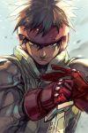 brown_eyes brown_hair closed_mouth gloves hankuri knife looking_at_viewer simple_background solo spriggan_(manga) upper_body