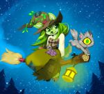 1girl achyfi breasts broom cat commentary dress english_commentary eyelashes flying full_body furry green_eyes green_hair happy hat ixi_(neopets) meowclops neopets night night_sky outdoors petpet pine_tree single_eye sky small_breasts smile sophie_the_swamp_witch star_(sky) starry_sky tree witch witch_hat