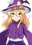1girl bangs blonde_hair blush bow commentary_request crescent crescent_hair_ornament dress e.o. eyebrows_visible_through_hair flying_sweatdrops hair_between_eyes hair_ornament hat hat_bow highres kirisame_marisa long_hair long_sleeves looking_at_viewer parted_lips purple_dress purple_headwear sash sidelocks simple_background solo touhou upper_body white_background white_sash wide_sleeves witch_hat yellow_bow yellow_eyes