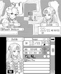 2girls automatic_giraffe bangs bead_necklace beads character_name circlet closed_mouth commentary earrings english_commentary english_text fake_screenshot fire_emblem greyscale jewelry kirby_(series) long_hair mario_(series) monochrome multiple_girls necklace number parody parted_bangs pointy_ears portrait princess_peach princess_zelda sidelocks sketch smile stats super_smash_bros. the_legend_of_zelda whispy_woods