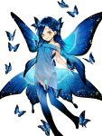 1girl araragi bad_feet bare_shoulders blue_butterfly blue_dress blue_hair blue_legwear blue_theme blue_wings braid braided_bangs butterfly_dress butterfly_on_head butterfly_wings closed_mouth dress feet_out_of_frame flying hair_ornament hair_over_one_eye hair_strand hair_wings highres honzuki_no_gekokujou jewelry long_hair looking_at_viewer maine_(honzuki_no_gekokujou) multiple_braids necklace off-shoulder_dress off_shoulder print_legwear see-through_silhouette simple_background skirt_hold smile solo white_background wings