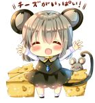 1girl :d ^_^ animal animal_ears bangs black_skirt blush capelet cheese chocolat_(momoiro_piano) closed_eyes commentary_request eyebrows_visible_through_hair facing_viewer fang food full_body grey_capelet grey_hair hair_between_eyes long_hair long_sleeves mouse mouse_ears mouse_girl mouse_tail nazrin open_mouth outstretched_arms shirt simple_background skirt smile socks solo standing tail touhou translation_request white_background white_legwear white_shirt