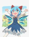 1girl artist_name blue_dress blue_eyes blue_hair bow cirno collared_shirt dated dress flower hair_bow highres ice ice_wings leaf long_sleeves outline plant porforever red_bow red_neckwear red_ribbon ribbon shirt shirt_under_dress short_hair solo sunflower touhou white_outline white_shirt wings