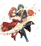 1boy 1girl alm_(fire_emblem) alternate_costume belt boots bouquet celica_(fire_emblem) earrings fire_emblem fire_emblem_echoes:_shadows_of_valentia fire_emblem_heroes flower full_body green_eyes green_hair hair_flower hair_ornament headband highres jewelry long_hair necklace official_art open_mouth petals red_eyes redhead sandals sparkle teeth transparent_background