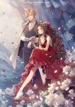 aerith_gainsborough black_hair cloud_strife dress final_fantasy final_fantasy_vii flower high_heels highres kieta ponytail ribbon white_flower