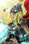 1girl armor blonde_hair breasts cape closed_mouth hammer hankuri helmet long_hair marvel mjolnir solo thor_(jane_foster)