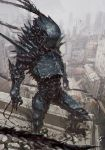 1boy abara armor commentary_request fog full_body gas1 highres outdoors signature solo standing