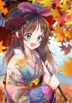 1girl :d a.i._channel aqua_eyes autumn_leaves bangs brown_hair floral_print flower hair_flower hair_ornament hair_ribbon hairband highlights highres holding holding_umbrella japanese_clothes kimono kizuna_ai kyuu_(chiu850513) long_hair looking_at_viewer multicolored_hair nail_polish obi open_mouth oriental_umbrella pink_hair pink_ribbon red_flower ribbon sash smile solo streaked_hair umbrella upper_body virtual_youtuber