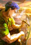 1boy beach blue_hair closed_eyes cu_chulainn_(fate)_(all) earrings fate/hollow_ataraxia fate_(series) hawaiian_shirt highres hookah jewelry kim_yura_(goddess_mechanic) lancer male_focus muscle ponytail profile realistic shirt smoking solo sunset