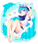 1boy :3 barefoot blue_eyes blue_hair blush bubble cookie_run dolphin eyebrows_visible_through_hair feet full_body hat looking_at_viewer midriff peppermint_cookie sailor sailor_collar sailor_hat shorts solo star twitter_username yoyochaan