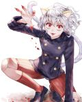 animal_ears blood cat_ears cat_tail claws fang fingers grin highres hunter_x_hunter looking_at_viewer neferpitou red_eyes short_hair simple_background smile solo tail white_background white_hair
