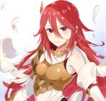 1girl breastplate closed_mouth cordelia_(fire_emblem) feathers female_focus fire_emblem fire_emblem:_kakusei fire_emblem_13 fire_emblem_awakening fire_emblem_heroes hair_between_eyes haru_(nakajou-28) intelligent_systems long_hair nintendo red_eyes redhead simple_background solo tagme tiamo_(fire_emblem) upper_body