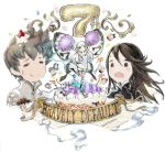 aerie_(bravely_default) agnes_oblige anniversary bravely_default:_flying_fairy bravely_default_(series) brown_eyes brown_hair cake dress fairy fairy_wings food grey_hair highres ikusy official_art open_mouth pom_poms short_dress smile square_enix surprised sweatdrop tiz_oria white_hair wings