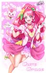 1girl :d absurdres bare_legs character_name choker cowboy_shot creature cure_grace dress earrings flower gloves hair_bun hair_flower hair_ornament hanadera_nodoka healin'_good_precure heart heart_hair_ornament highres jewelry layered_dress long_hair looking_at_viewer magical_girl nez-kun open_mouth pink_background pink_eyes pink_flower pink_hair pink_neckwear pink_rose pink_theme precure rabbit rabirin_(precure) rose shoes signature smile standing standing_on_one_leg white_footwear white_gloves