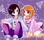 1boy 1girl abstract_background all_fours asymmetrical_bangs asymmetrical_clothes bangs blonde_hair breasts feet_out_of_frame hibikileon jewelry pants pendant pink_shirt pokemon pokemon_special purple_background purple_pants purple_shorts purple_theme shirt short_hair shorts sitting small_breasts violet_eyes x_(pokemon) y_na_gaabena
