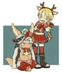 1girl 1other alternate_costume alternate_hairstyle androgynous blonde_hair blush boots bow braid brown_footwear christmas_lights cross-laced_footwear furry glasses green_eyes highres kawasemi27 lace-up_boots looking_at_another made_in_abyss nanachi_(made_in_abyss) open_mouth red_bow red_legwear red_skirt riko_(made_in_abyss) skirt smile thigh-highs white_hair yellow_eyes