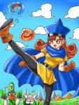 /\/\/\ 1girl 2boys alena_(dq4) bald beard black_gloves blue_hair blue_sky blush brey brown_eyes brown_hair cape clenched_hands clift clouds commentary_request dragon_quest dragon_quest_iv facial_hair gloves hat highres kicking mountain multiple_boys nakagawa_shouko_(artist) old_man open_mouth orange_gloves signature sky slime_(dragon_quest) smile staff surprised white_hair