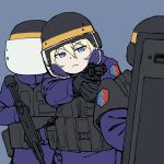 1girl bangs bc_freedom_(emblem) black_gloves black_headwear blonde_hair blue_background blue_eyes blue_jumpsuit body_armor bulletproof_vest closed_mouth commentary emblem frown girls_und_panzer gloves gun half-closed_eyes handgun helmet highres holding holding_gun holding_weapon long_sleeves looking_at_viewer onsen_tamago_(hs_egg) oshida_(girls_und_panzer) revolver riot_shield simple_background solo standing submachine_gun tactical_clothes weapon