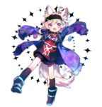 1boy animal_ears black_legwear blush boots choker full_body headband iida_rintarou kneehighs lip_piercing looking_at_viewer multicolored_hair okami_game_(werewolf) piercing rainbow_hair safety_pin shimogu shorts sleeves_past_fingers sleeves_past_wrists solo tail wolf_boy wolf_ears wolf_tail