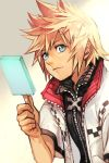 1boy blonde_hair blue_eyes closed_mouth food hankuri ice_cream kingdom_hearts kingdom_hearts_ii looking_at_viewer male_focus roxas simple_background smile solo spiky_hair