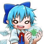 1girl avatar_icon blue_hair bow chamaji cirno close-up collared_shirt commentary frog frozen_frog hair_between_eyes hair_bow ice ice_wings looking_at_viewer lowres neck_ribbon open_mouth pointy_ears puffy_short_sleeves puffy_sleeves ribbon round_teeth shirt short_hair short_sleeves signature simple_background smile solo teeth touhou upper_body white_background wing_collar wings