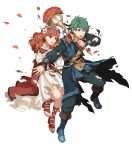1boy 1girl alm_(fire_emblem) alternate_costume belt boots bouquet celica_(fire_emblem) earrings fire_emblem fire_emblem_echoes:_shadows_of_valentia fire_emblem_heroes flower full_body green_eyes green_hair hair_flower hair_ornament headband highres jewelry long_hair necklace official_art one_eye_closed open_mouth petals red_eyes redhead sandals teeth torn_clothes transparent_background