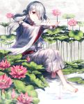 1boy androgynous bangs barefoot bridal_gauntlets bug check_translation commentary cotton_ball detached_sleeves flower full_body fuuna_(conclusion) hair_over_one_eye japanese_clothes kimono lily_pad long_hair looking_at_hand male_focus obi original pink_flower pool red_eyes sash shallow_water silver_hair sitting soaking_feet spider tied_hair translation_request white_kimono wind