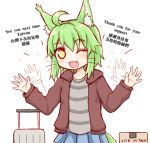 1girl ;d afterimage ahoge animal_ear_fluff animal_ears blue_skirt blush box brown_jacket cardboard_box cat_ears cat_girl cat_tail commentary_request english_text fang green_hair greenteaneko greenteaneko-chan grey_shirt hands_up highres hood hood_down hooded_jacket jacket looking_at_viewer one_eye_closed open_clothes open_jacket open_mouth original pleated_skirt rolling_suitcase shirt simple_background skirt smile solo sparkle striped striped_shirt tail waving whiskers white_background yellow_eyes
