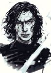 1boy angry black_hair blood cloak face greyscale hankuri kylo_ren lips looking_at_viewer male_focus monochrome portrait scar short_hair simple_background sith solo star_wars star_wars:_the_force_awakens white_background