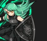 1girl arknights arm_ribbon armor artist_name bangs bare_shoulders black_background black_dress black_pants black_ribbon breastplate commentary dress eyebrows_visible_through_hair feet_out_of_frame floating_hair green_hair highres holding holding_shield horn hoshiguma_(arknights) knee_pads long_hair looking_at_viewer necrophylum pants ribbon shield simple_background sleeveless sleeveless_dress solo twitter_username yellow_eyes