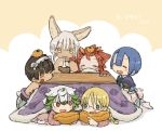 1other 2boys 3girls :3 alternate_costume alternate_hairstyle androgynous animal_ears blonde_hair blue_hair bowl braid brown_hair chopsticks closed_eyes closed_mouth eating eyebrows_visible_through_hair facial_mark food fruit furry green_hair highres holding holding_bowl holding_chopsticks kawasemi27 kotatsu long_hair made_in_abyss maruruk meinya_(made_in_abyss) messy_hair mitty_(made_in_abyss)_(furry) mochi multicolored_hair multiple_boys multiple_girls nanachi_(made_in_abyss) orange pillow prushka red_eyes redhead regu_(made_in_abyss) riko_(made_in_abyss) short_hair sitting table tail translation_request twin_braids white_hair