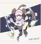 1girl black_legwear blue_eyes bow breasts brown_hair double_bun hat large_breasts legwear_under_shorts long_hair looking_at_viewer mei_(pokemon) nomura_(buroriidesu) open_mouth pantyhose pink_bow pokemon pokemon_(creature) pokemon_(game) pokemon_bw2 raglan_sleeves shorts smile solo twintails visor_cap